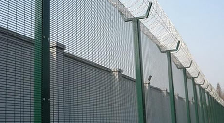 358 Security Mesh Panels with Razor Concertina Tape Toppings